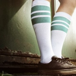 Spirit of 76 Oldschool Tube Socks Green Greens on White - Hi