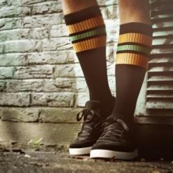 Spirit of 76 Oldschool Tube Socks orange Light greens on black