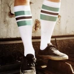 Spirit of 76 Oldschool Tube Socks Green Blacks on White - Hi